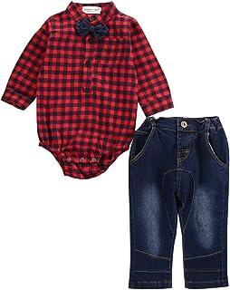 Baby Langarm Plaid Shirt Strampler Baby Jungen Kinder Kariertes Hemden Baumwolle Outfits Gentleman Overall Kleidung