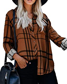 Women Causal Loose Long Sleeve Striped Tops Blouses Bust Pocket Button Down Shirts