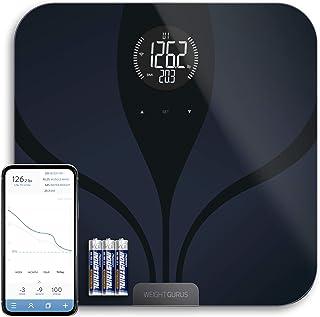 مقیاس هوشمند بلوتوث توسط GreaterGoods، مقیاس هوشمند حمام با راه حل امن برای داده های شما، شامل وزن، BMI، چربی بدن، توده عضلانی، وزن آب و توده استخوان، نمایش بزرگ با نور پس زمینه