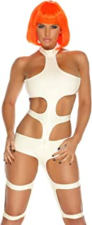 Womens Futuristic Element Strappy Stretchy Costume Bodysuit with Cutouts