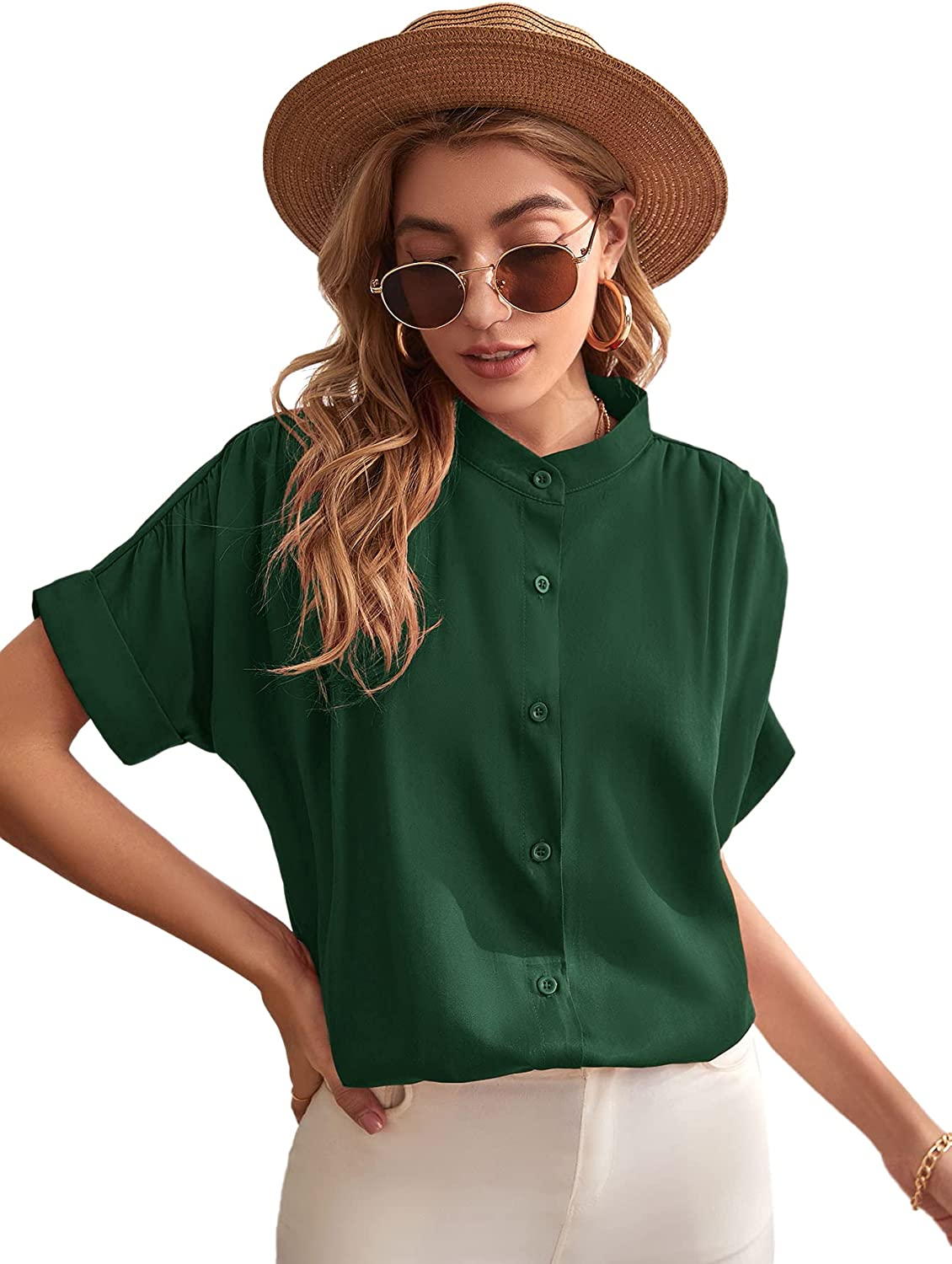Milumia Women's Stand Collar Button Down Shirt Rolled Up Short Sleeve Blouse Top