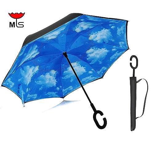 56374e145 Double Layer Inverted Umbrella,Windproof & Rain proof Reverse Folding Cars  Umbrella