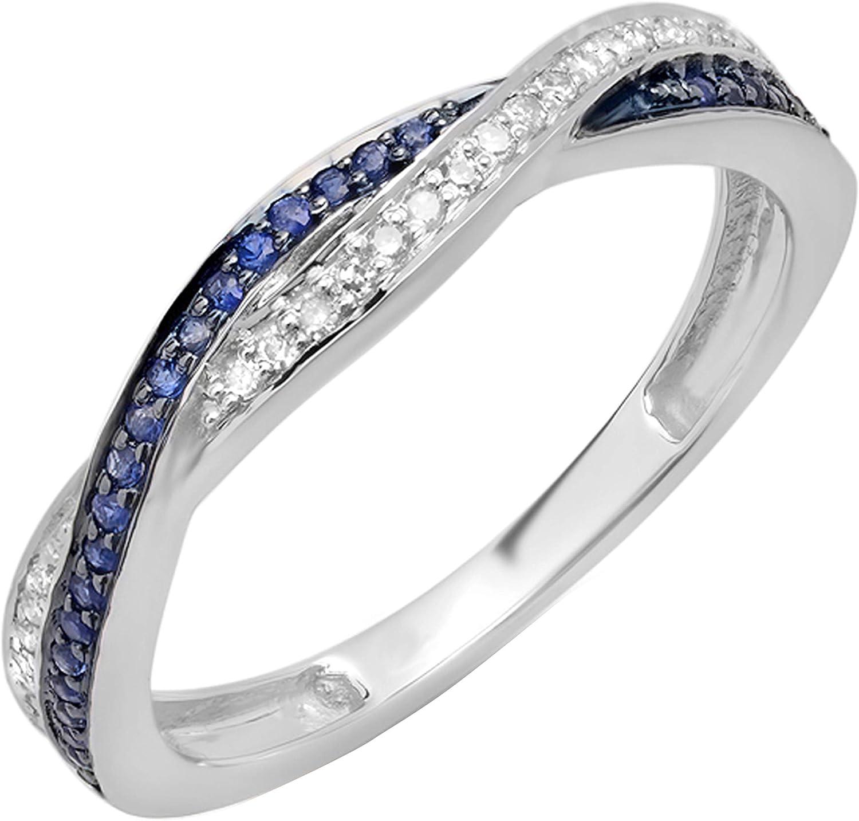 Dazzlingrock Collection Round White Diamond & Blue Sapphire Ladies Stackable Swirl Anniversary Wedding Band Ring, 18K Gold