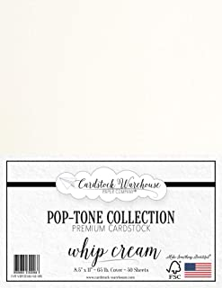Whip Cream White Cardstock Paper - 8.5 x 11 inch 65 lb. Cover -50 Sheets from Cardstock Warehouse