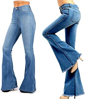 /Sweet Look High Waist Juniors Womens Plus 70s Flared Bell Bottom Bootcut Denim Jeans Pants