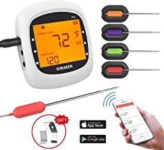 Wireless Meat Thermometer for Grilling, Bluetooth Meat Thermometer Digital BBQ Cooking Thermometer with 4 Probes, Alarm Monitor Cooking Thermometer for Barbecue Oven Kitchen, Support IOS & Android