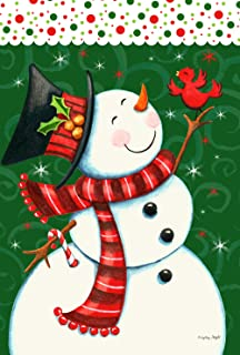 Toland Home Garden Dancing Snowman 28 x 40 Inch Decorative Colorful Winter Christmas Holiday Bird House Flag - 109736, White/Red/Green/Black