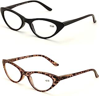 V.W.E. 2 Pairs Deluxe Female Cateye Vintage Reading Glasses Women Readers