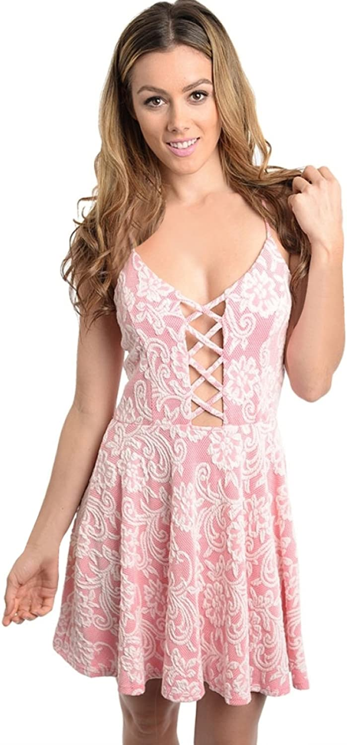 2LUV Women's Lace Accent Fit & Flare ALine Dress