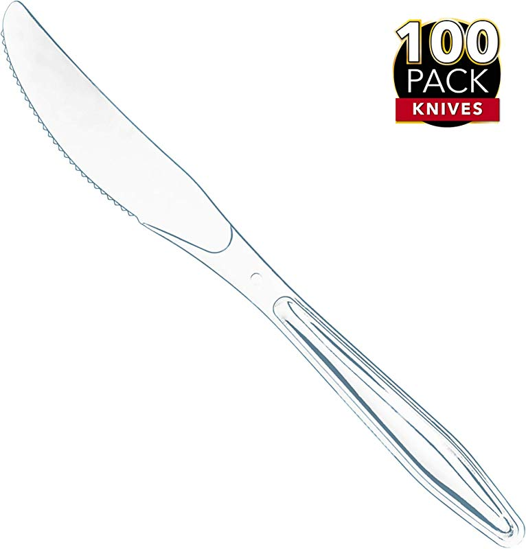 100 Clear Plastic Knives Heavy Duty Plastic Silverware Knives Fancy Plastic Cutlery Elegant Disposable Knives Pack Bulk Disposable Flatware Plastic Utensils Set Nice Disposable Silverware