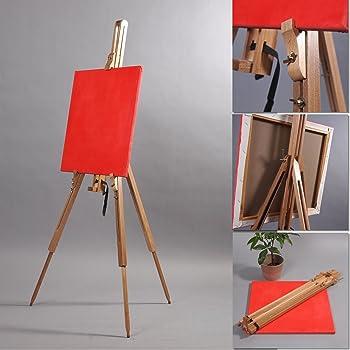 Color : Walnut DyAn Gro/ße Staffelei f/ür Art Professional XXL Studio H-Frame Staffelei Ge/öltes Buchenholz mit und 4 x Castor