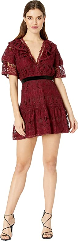Ruffled Sleeves Lace Dress