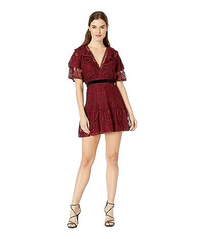 J.O.A. Ruffled Sleeves Lace Dress (Burgundy Lace) Women