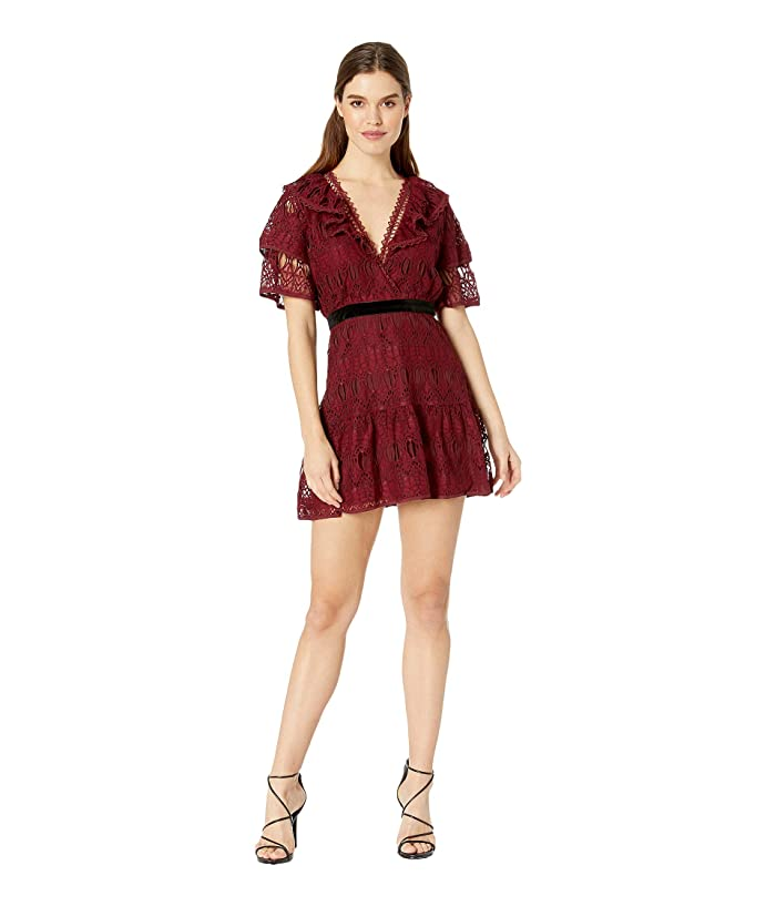 J.O.A. Ruffled Sleeves Lace Dress (Burgundy Lace) Women