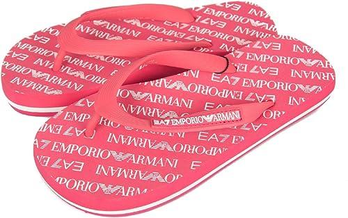 Emporio Armani Homme EA7 EA7 All Over Logo Flip Flops, Noir  la meilleure sélection de