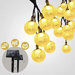 Solar String Lights Outdoor, 30 LED String Lights Solar Powered Waterproof Solar Fairy Lights Crystal Ball Lighting Led Solar Lights Outdoor Decor for Patio,Christmas ,Home Decor,Wedding( 2Pack,Warm )