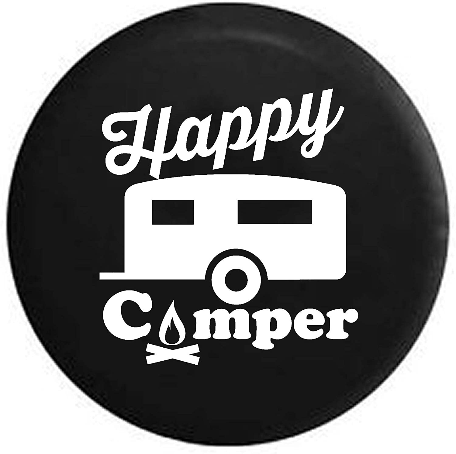 Pike Happy Camper Camp Fire RV Max 63% Weekly update OFF Trailer 27 Tire Black Spare Cover