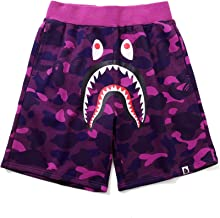 Athletic Pants Shark Pattern Hip hop Camouflage Stitching Shorts Men Drawstring Sports Shorts (Purple, XXL)