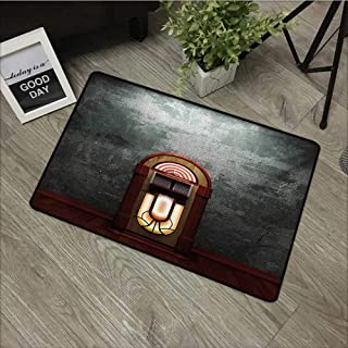 Interior Door mat W35 x L47 INCH Jukebox,Scary Movie Theme Old Abandoned Home with Antique Old Music Box Image,Petrol Green and Brown Easy to Clean, Easy to fold,Non-Slip Door Mat Carpet