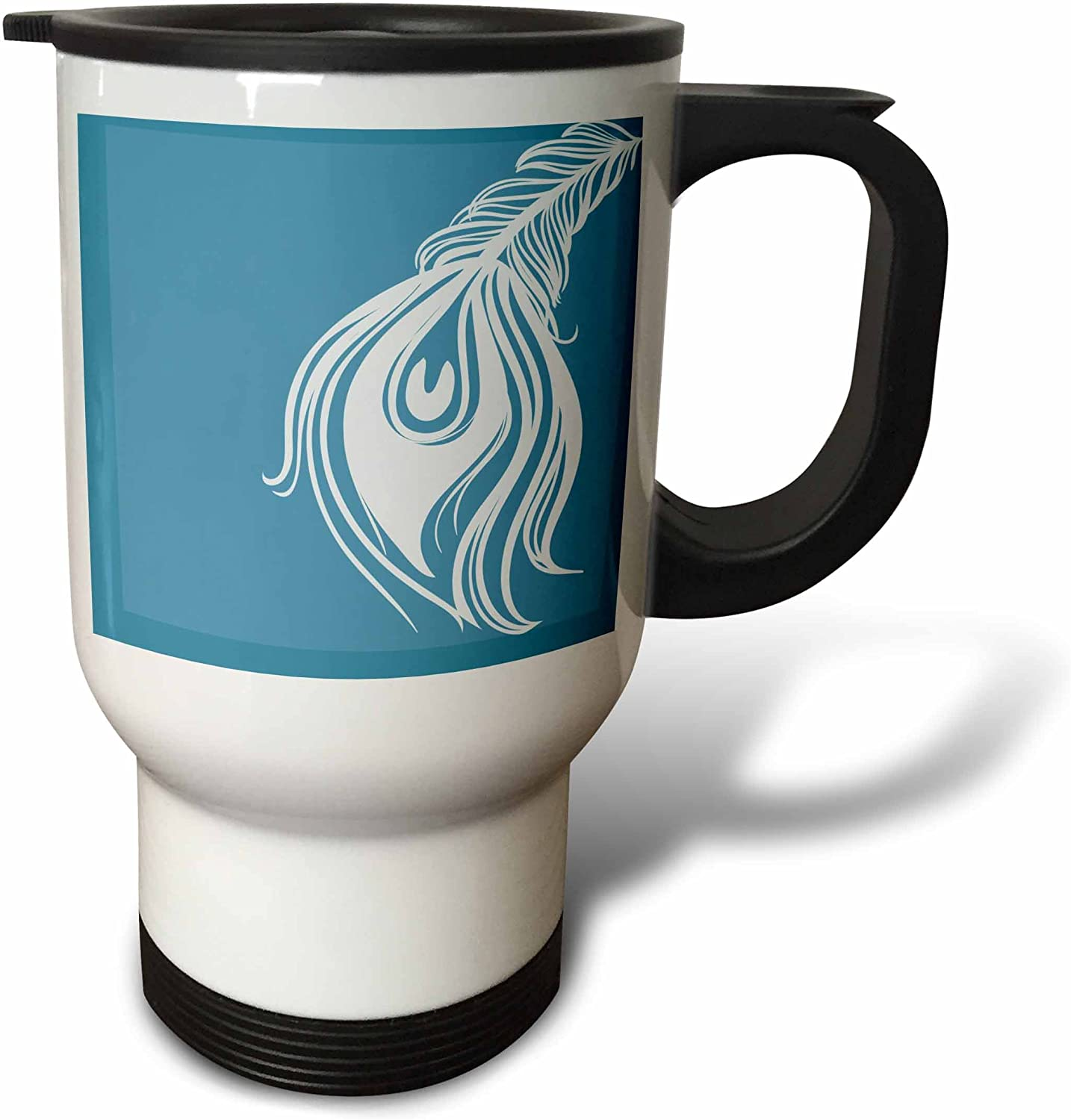 3dRose White and Teal service Peacock Feather-Travel Max 69% OFF 14 oz Mug Stainle