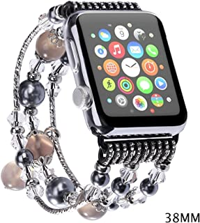 JOMOQ Apple Watch Band, Fashion Sports Beaded Bracelet Replacement iWatch Strap Band For Women Girls, Apple Watch Series 38mm/42mm