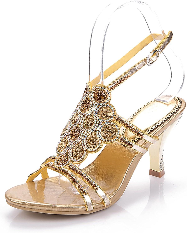 Ladies Womens Wedding Stiletto Heel Party Sandals Prom shoes Open Toe Rhinestone