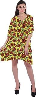 RADANYA Floral Women's Short Kaftan 3/4 Sleeve Summer Beachwear Cover Up Dress