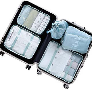 Packing Organizers,Mossio 7 Set Luggage Bags for Underwear Shirts Trousers Shoes Light Blue