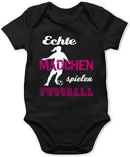 Shirtracer Sport Baby - Echte Mädchen Spielen Fußball weiß - Baby Body Kurzarm für Jungen und Mädchen