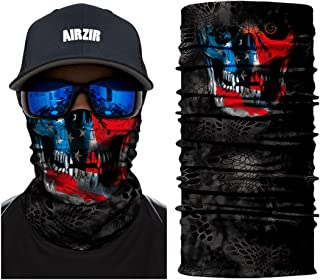 Airzir Skull Face Mask Premium Breathable Seamless Tube Motorcycle Face Mask Wind Dust UV Protection Moisture Wicking Microfiber Face Mask for Motorcycle Riding Cycling Hiking Climbing (Skull-411)