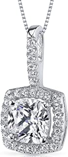 Sterling Silver Halo Style Cushion Cut 1.13 Carats Cubic Zirconia Pendant Necklace