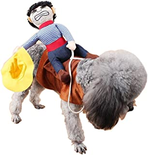 PetIsay Halloween Dog Costume, Cowboy Rider Dog Costume for Dogs Outfit Knight Style with Doll and Hat for Pet Costume