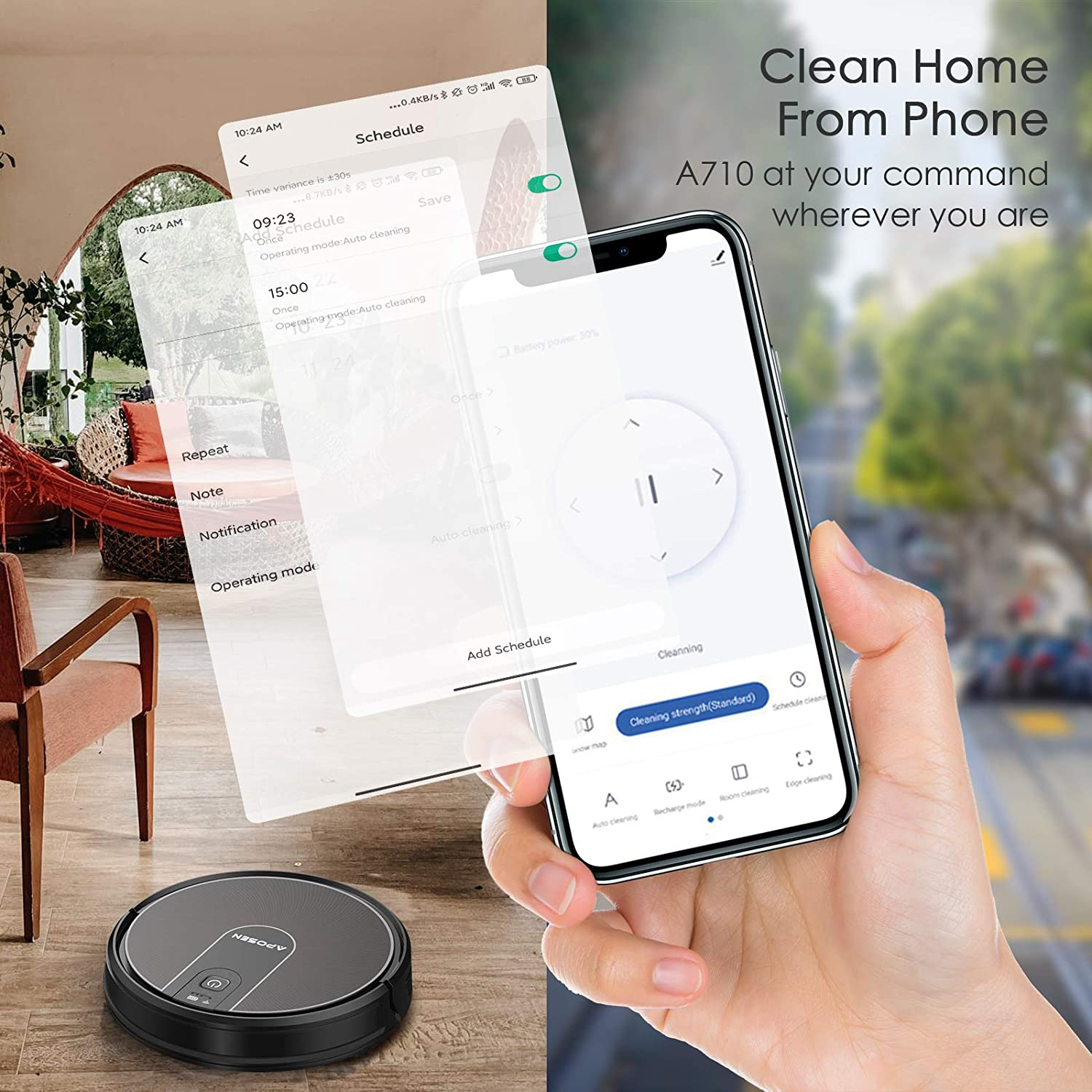 Super Thin Alexa Quiet Self Charging Robotic Vacuum Cleaner with 2200pa Strong Suction /& Durable Battery Easily Connected with WiFi Best for Pet Hair//HardFloor//Carpet APOSEN Robot Vacuum