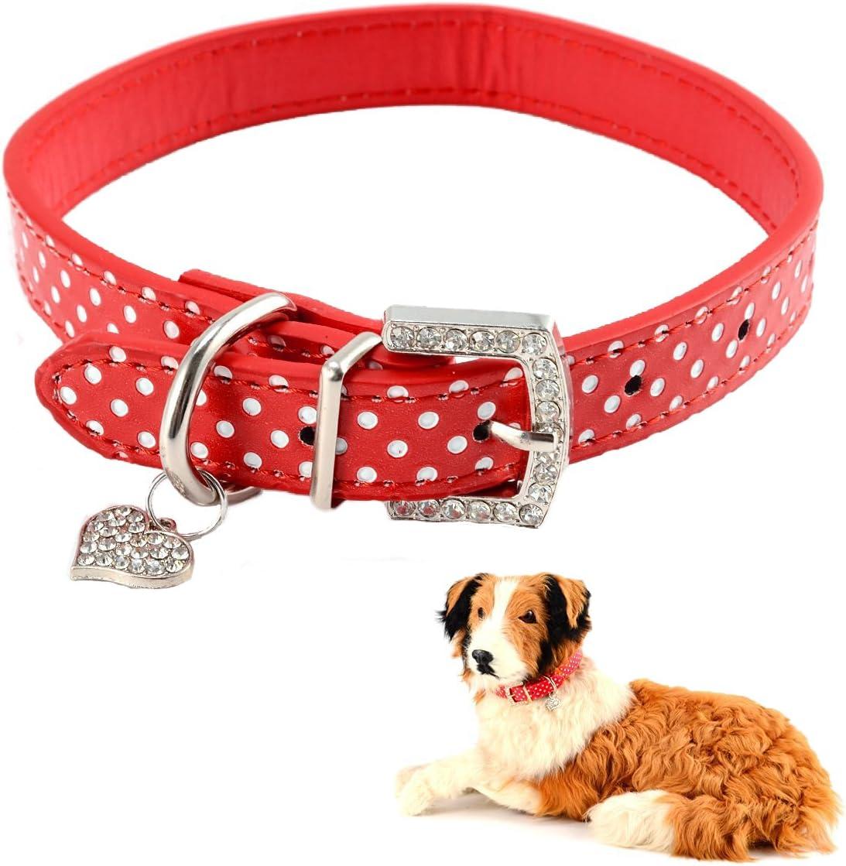 Mummumi Small Dog Collar Cat PU Dots Fashion Leather Ranking TOP3 Adjustable