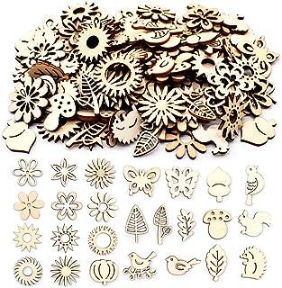 Jicyor Embellissements Feuilles Fleurs Bois, 150 pièces Mini DIY Tranches Fleur Bois pour Décorations de Mariage Décoratio...