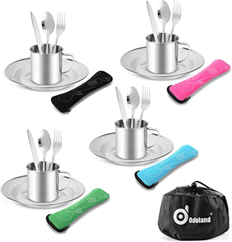 discount Odoland 25pcs Stainless Steel Utensils Camping Tableware Kit with discount Plates Cups Forks Spoons and Knives for 4, outlet sale Cutlery Flatware Set for Backpacking, Outdoor Camping Hiking and Picnic online sale