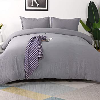 Vailge 3-Piece Duvet Cover Set Twin Size, 100% Washed Microfiber Bedding Sets,Ultra Soft and Breathable Comforter Cover with Zipper Closure & Corner Ties (Not Include Comforter) (Twin, Grey)