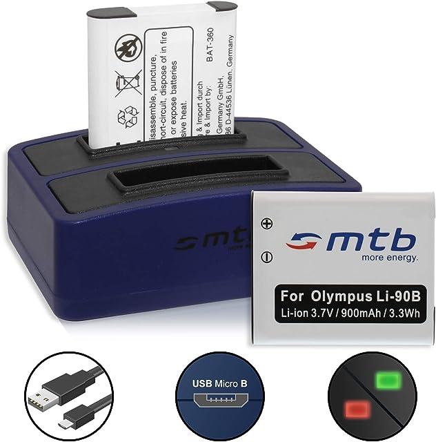 2X Batería + Cargador Doble (USB) para LI-90B LI-92B / Olympus Tough TG-Tracker/SH-1 2… / XZ-2 / TG-1 TG-5 - Contiene Cable Micro USB