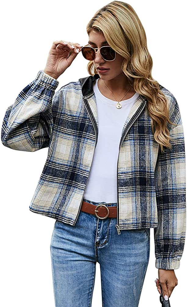 Hooded Plaid Flannel Shirt Jackets for Womens Casual Loose Zip Up Short Shackets Coat