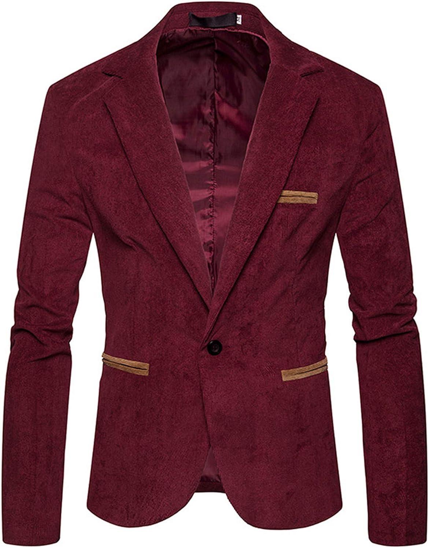 Tealun Men Suit Jacket Bblazer Fashion Corduroy Color Casual Jacket