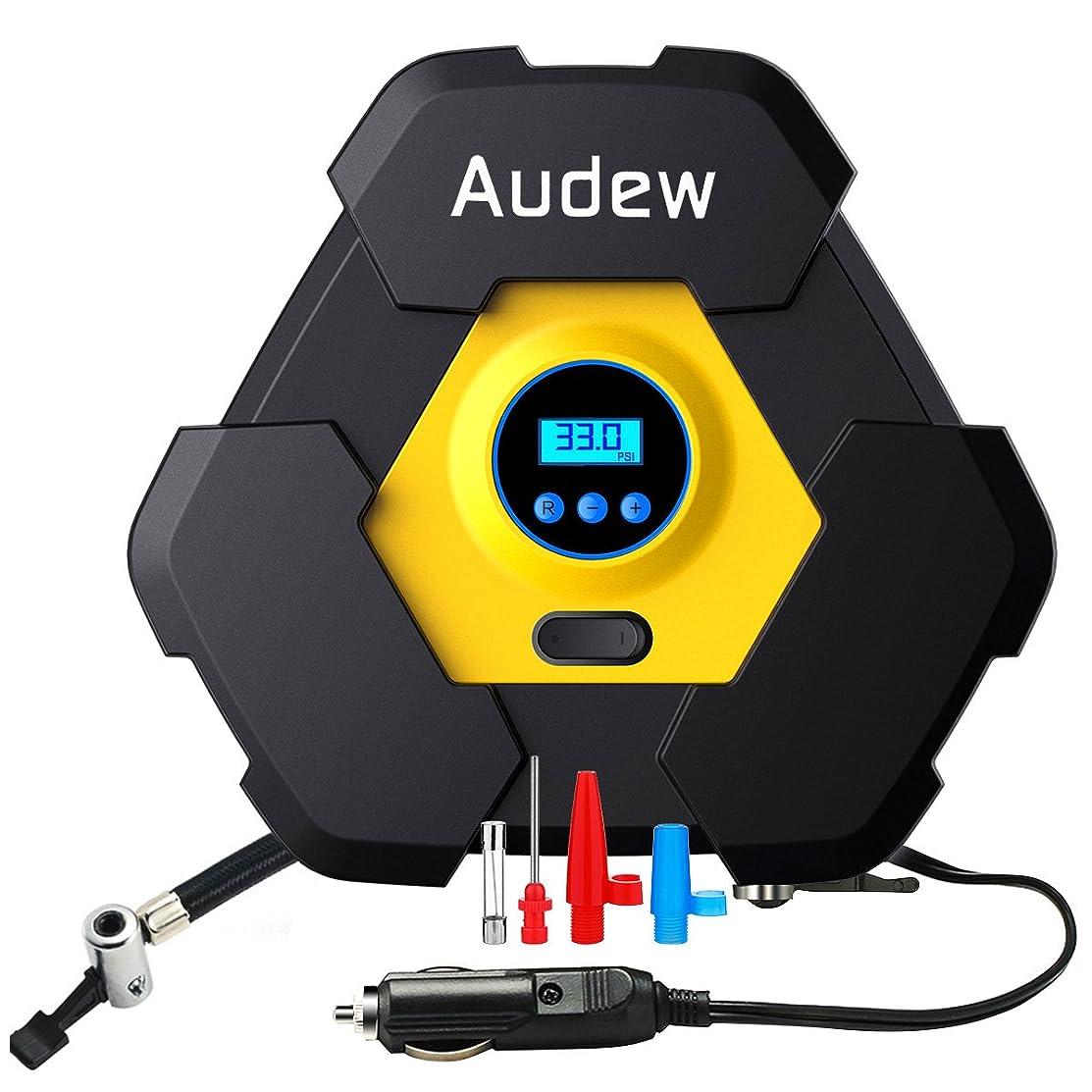 ボンド熱心篭AUDEW エアコンプレッサーコンパクト 車用空気入れ 空気圧測定 LEDライト付き シガーソケット接続式 3種類アダプターノズル付き レジャー用品