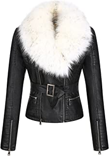 Women's Faux Leather Short Jacket, Moto Jacket with Detachable Faux Fur Collar