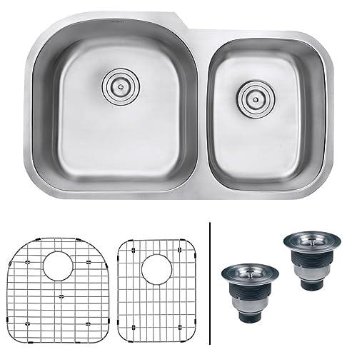 18 Gauge 60 40 Stainless Steel Kitchen Sink Amazon Com
