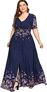 Women's Plus Size Floral Print Buttons Short Sleeve Split Flowy Maxi Dress