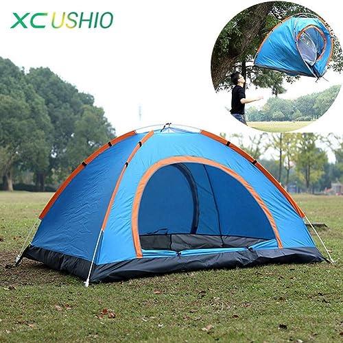 Sortie Udstyr, Tente 3-4 Personne Double Couche Camping Grande Tente Tente Imperméable en Plein Air Pour Randonnée Pêche Chasse Aventure Plage Pique-Nique Tente Partie, Kejing Miao