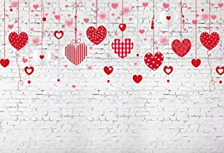 Foto de Nivius FT-7534 de 200 x 150 cm con fondo de vinilo para fotografía de San Valentín con diseño de corazones rojos