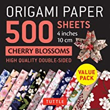 """Origami Paper 500 sheets Cherry Blossoms 4"""" (10 cm): Tuttle Origami Paper: High-Quality Double-Sided Origami Sheets Printe..."""