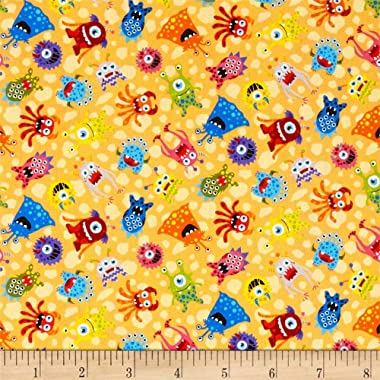 Fabri-Quilt Paintbrush Studios Launch Party Monsters Fabric, Orange, Fabric By The Yard