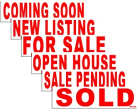 6 Pack Bundle of Real Estate Rider Signs 6x24 - for Sale, Open House, Sold, Coming Soon, Sale Pending, New Listing - Double-Sided, Waterproof Corrugated Plastic, Made in America (Red Letters)