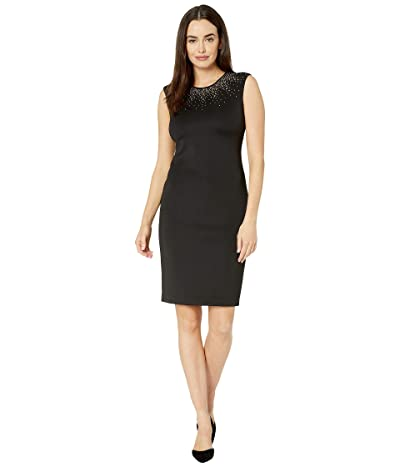 Calvin Klein Embellished Neck Dress (Black) Women